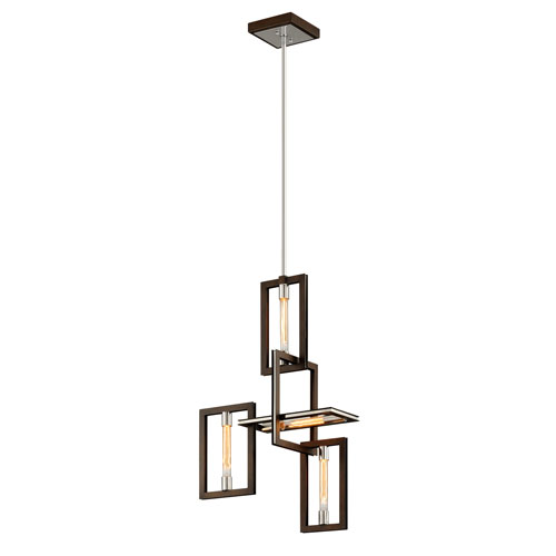 Troy Enigma Bronze and Polished Stainless Four-Light Pendant