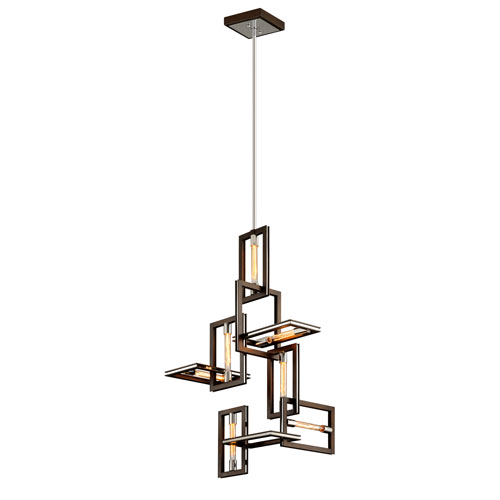 Enigma Bronze and Polished Stainless Seven-Light Pendant
