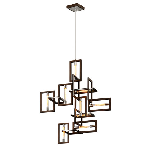 Enigma Bronze and Polished Stainless Nine-Light Pendant