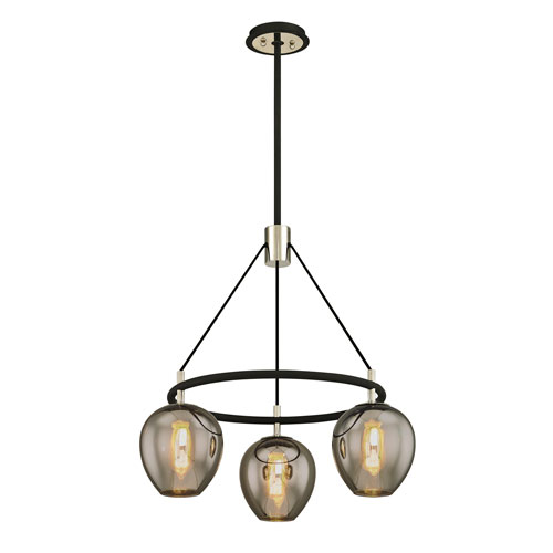 Iliad Carbide Black and Polished Nickel Three-Light Pendant with Plated Smoke Glass