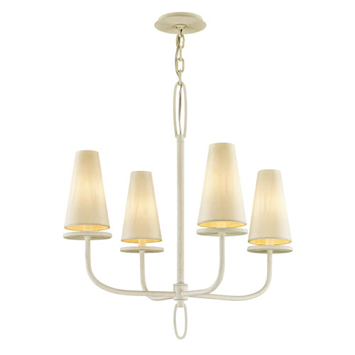 Marcel Gesso White Four-Light Chandelier with Off-White Hardback Cotton