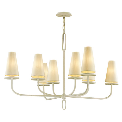 Marcel Gesso White 29-Inch Chandelier with Off-White Hardback Cotton