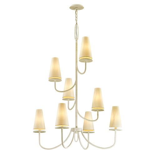 Marcel Gesso White 49-Inch Chandelier with Off-White Hardback Cotton