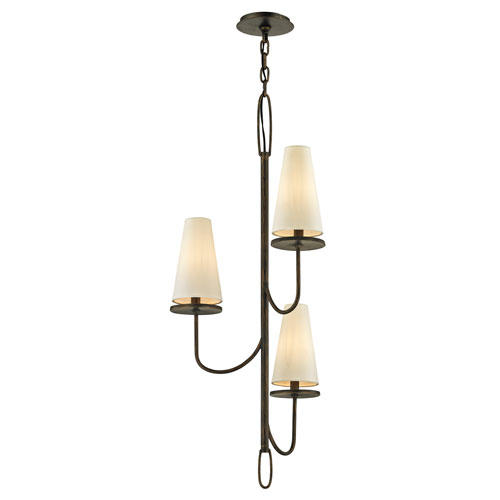 Troy Marcel Pompeii Bronze Three-Light Chandelier with Off-White Hardback Cotton