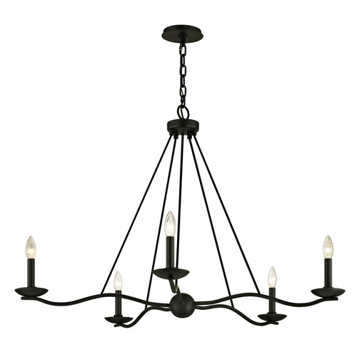 Troy Sawyer Forged Iron Five-Light Chandelier