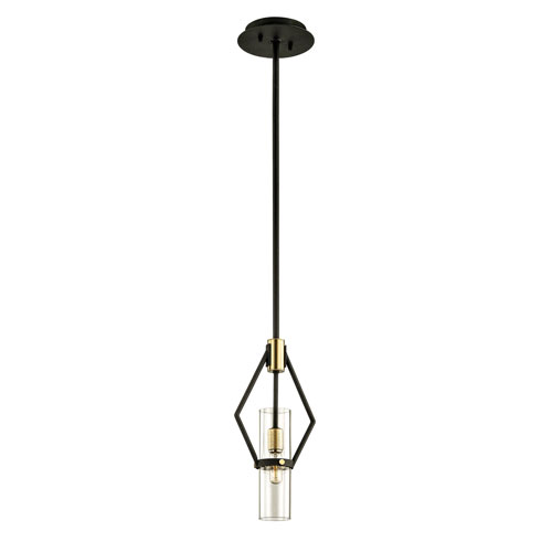 Troy Raef Textured Bronze and Brushed Brass 15-Inch Mini Pendant with Dark Bronze