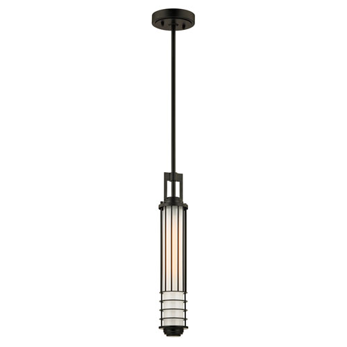 Troy Powell Street Powell Street Bronze  One-Light Outdoor Pendant with Opal White Glass