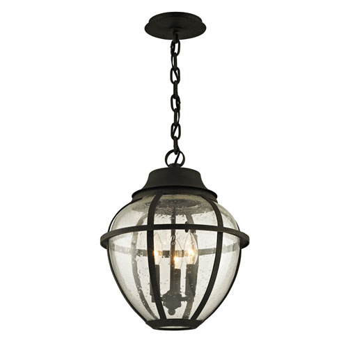 Troy Bunker Hill Vintage Bronze Three-Light Outdoor Pendant with Clear Seeded Glass