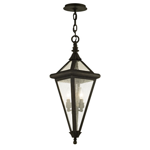 Geneva Vintage Bronze Two-Light Outdoor Pendant with Clear Seeded Glass