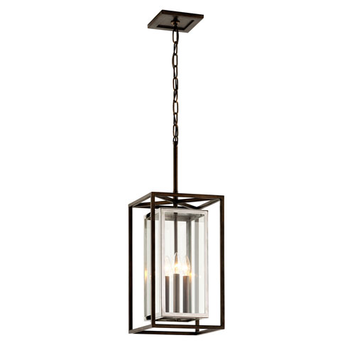 Morgan Bronze with Polished Stainless Three-Light Outdoor Pendant with Dark Bronze