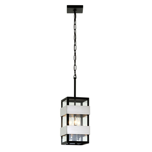 Troy Dana Point Textured Black with Brushed Stainless Three-Light Outdoor Pendant with Dark Bronze
