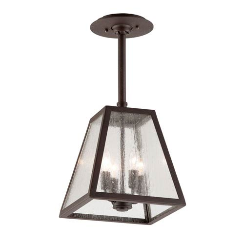 Troy River Valley Rust Four-Light Semi-Flush Mount with Clear Seeded Glass