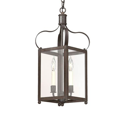 Troy Charred Iron Two-Light Hanging Lantern Pendant with Clear Seeded Glass