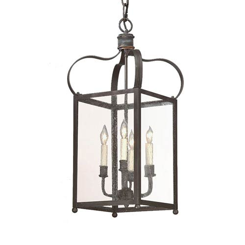Troy Bradford Charred Iron Four-Light Pendant with Clear Seeded Glass