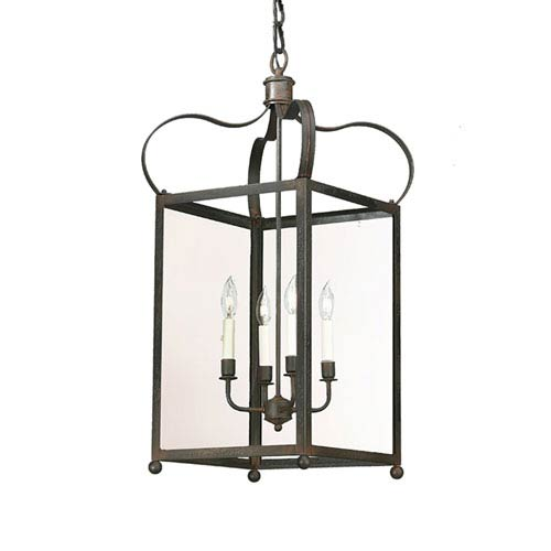 Charred Iron Four-Light Hanging Lantern Pendant with Clear Seeded Glass