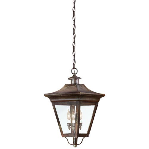 Natural Rust Three-Light Hanging Post Mount Lantern with Clear Seeded Glass