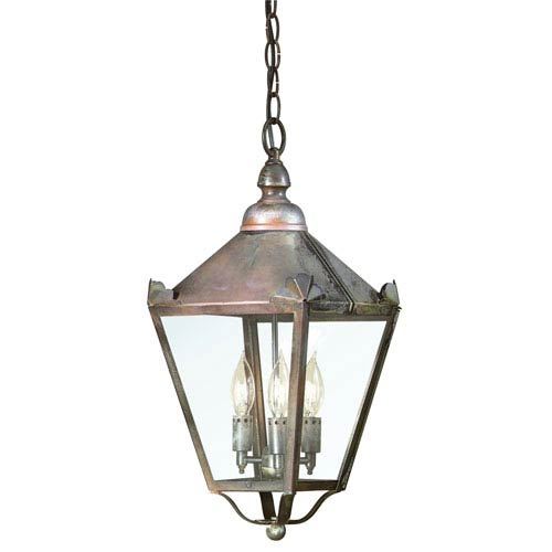Troy Natural Rust Three-Light Hanging Post Mount Lantern with Clear Seeded Glass