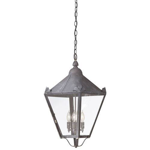 Troy Charred Iron Four-Light Hanging Post Mount Lantern with Clear Seeded Glass