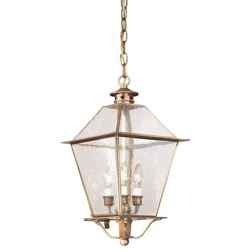Montgomery Natural Aged Brass Three-Light Outdoor Hanging Lantern