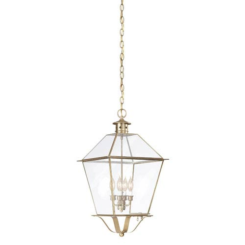 Troy Montgomery Natural Aged Brass Four-Light Hanging Glass Top Lantern with Clear Seeded Glass