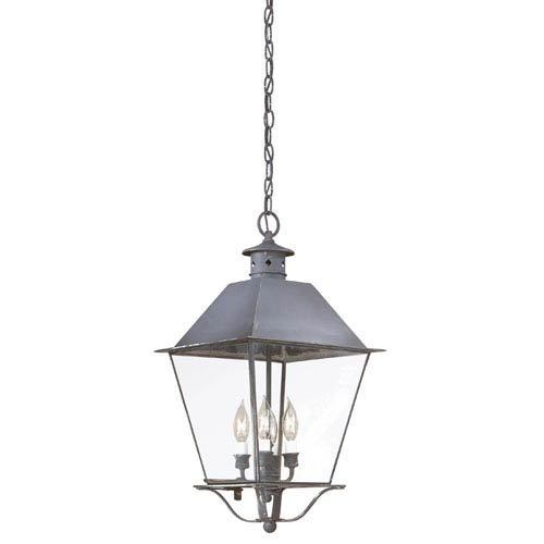 Troy Charred Iron Four-Light Hanging Metal Top Lantern with Clear Seeded Glass