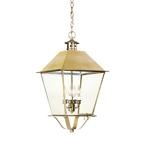 Troy Montgomery Natural Aged Brass Four-Light Hanging Metal Top Lantern with Clear Seeded Glass
