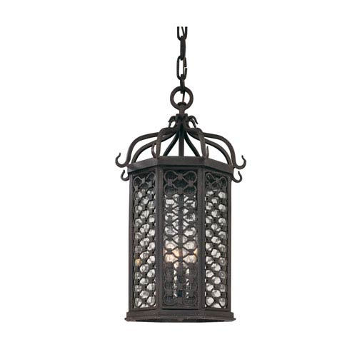 Troy Los Olivos Old Iron One-Light Fluorescent 20-Inch Outdoor Hanging Pendant with Amber Mist Glass