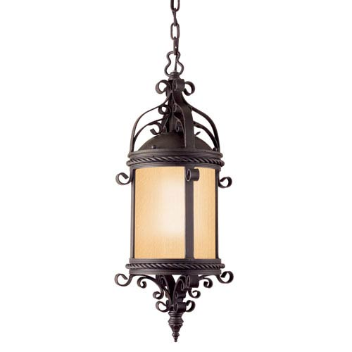 Troy Pamplona Old Bronze One-Light Fluorescent Outdoor Hanging Lantern