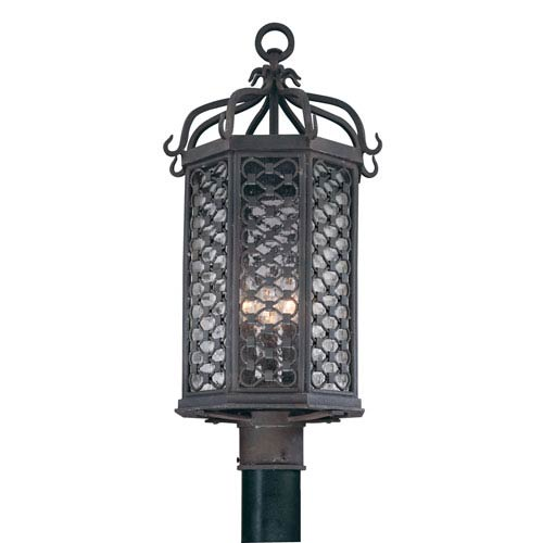 Los Olivos Old Iron Three-Light Outdoor Post Mount