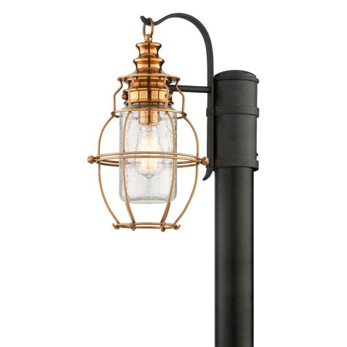 Troy Little Harbor Aged Brass with One-Light Medium Post Lantern with Forged Black Accents and Clear Antique Glass