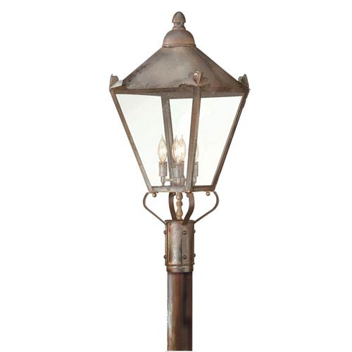 Troy Preston Natural Rust Four-Light Outdoor Post Mount with Clear Glass