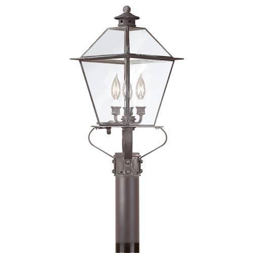 Troy Montgomery Charred Iron Three-Light Outdoor Post Lantern