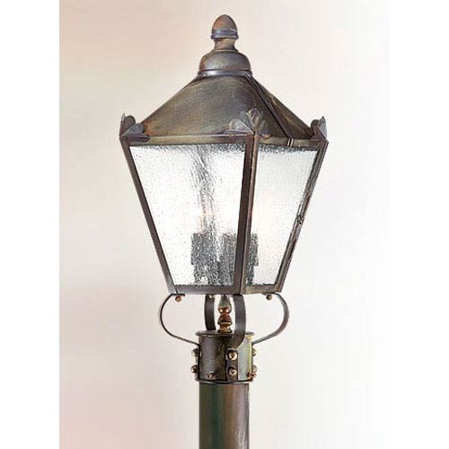 Troy Preston Natural Rust Three-Light Outdoor Post Mount with Clear Seeded Glass