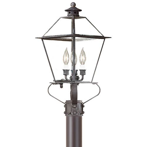 Troy Montgomery Charred Iron Three-Light Post Mount Metal Top Lantern with Clear Seeded Glass