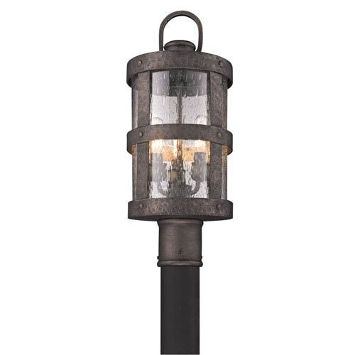 Troy Bronze Barbosa Three-Light Fluorescent Post Mount