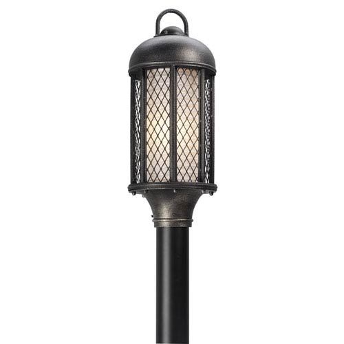 Signal Hill Aged Silver One-Light Eight-Inch Fluorescent Outdoor Post Mount