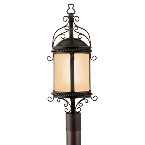 Troy Pamplona Old Bronze One-Light Fluorescent Outdoor Post Mount with Amber Mist Glass