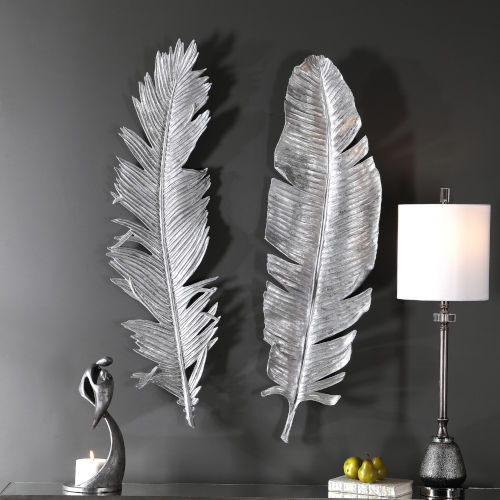 Sparrow Silver 14-Inch Feather Wall Decor