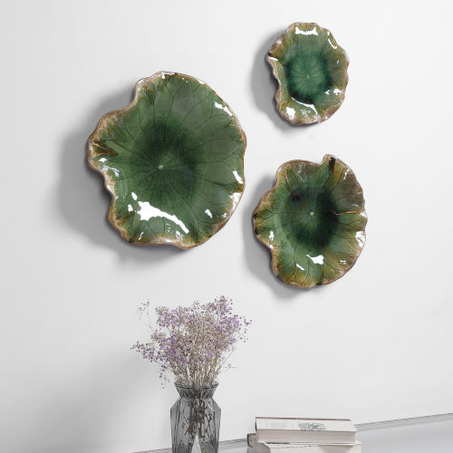 Abella Forest Green Floral Wall Art, Set of 3
