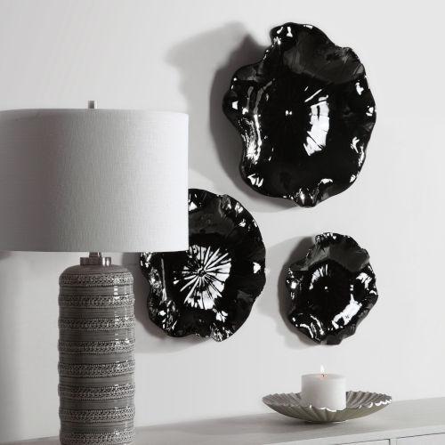 Abella Glossy Black Floral Wall Art, Set of 3