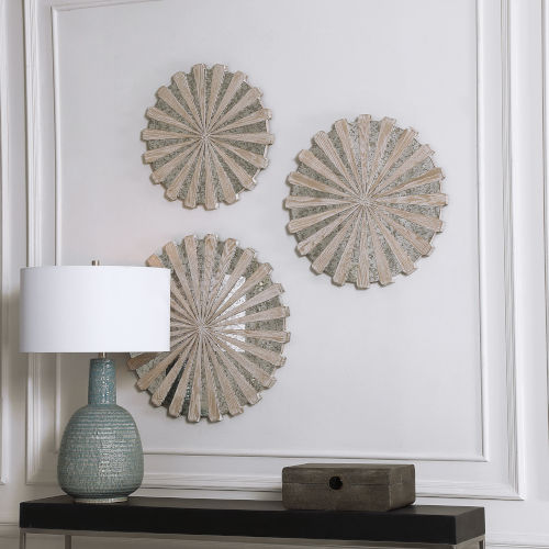 Daisies Brown 23-Inch Mirrored Circular Wall Decor, Set of 3