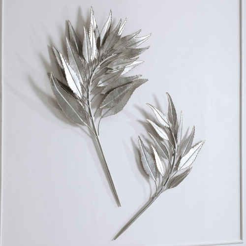 Palm Branches Silver 26-Inch Metal Wall Decor, Set of 2