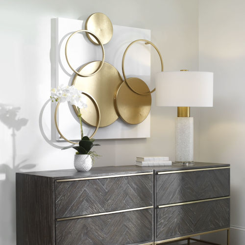 Adagio Matte White and Gold Leaf Wall Art