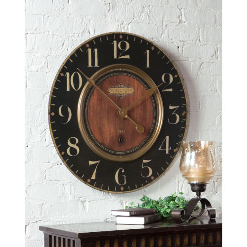 Alexandre Black and Woodtone 30-Inch Wall Clock