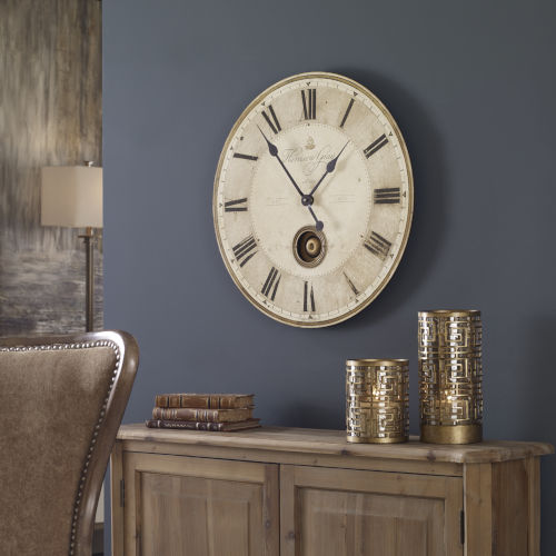 Harrison Gray Bronze and White 23-Inch Wall Clock