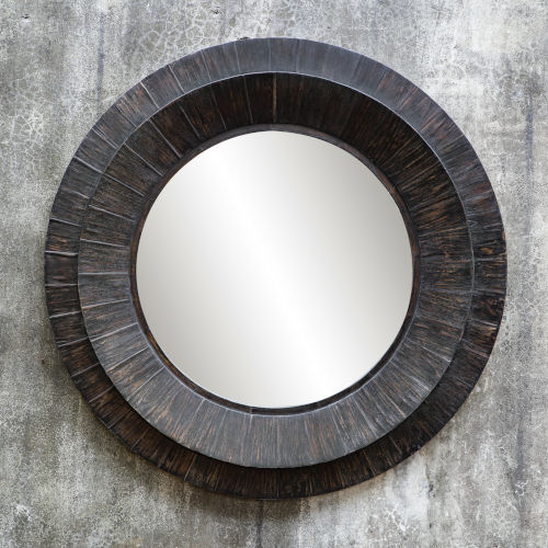 Corral Brown 40-Inch Round Mirror