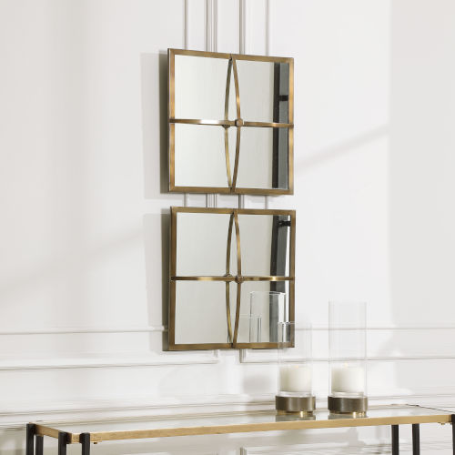 Window Pane Antique Brushed Brass 18-Inch Square Mirrors, Set of 2