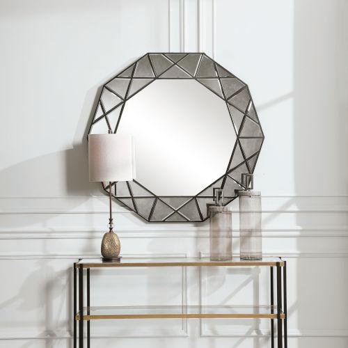 Manarola Black 48-Inch Decagon Shaped Mirror