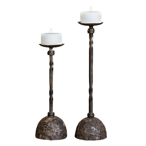Keegan Bronze Candle Holder, Set of 2