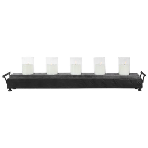 Cordaro Charcoal Wood 37-Inch Candle Holder